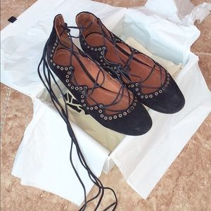 Isabel Marant Leo Lace-up Velvet Flats